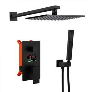 埋込形シャワー水栓 レインシャワーシステム ヘッドシャワー+ハンドシャワー 混合栓 LED表示器付き 黒色