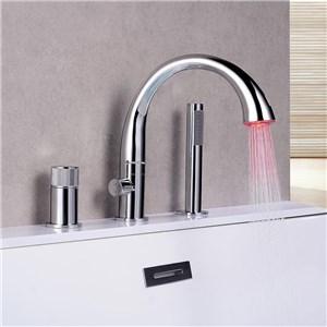LED浴槽水栓 バス水栓 シャワー混合栓 ハンドシャワー付 水道蛇口 3点 2色