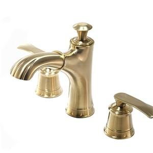 洗面蛇口 バス水栓 冷熱混合栓 手洗器蛇口 ホース引出式 2ハンドル 3点 ヘアラインゴールド