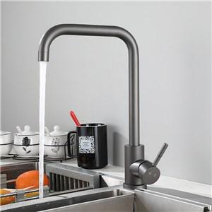 キッチン蛇口 台所蛇口 冷熱混合栓 水道蛇口 ステンレス鋼 回転可 ガングレー H320mm