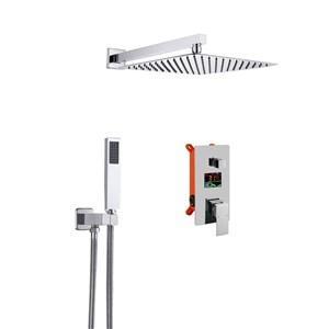 埋込形シャワー水栓 レインシャワーシステム ヘッドシャワー+ハンドシャワー 混合栓 LED表示器付き 3色