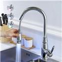 LEDキッチン水栓 台所蛇口 引出し式水栓 冷熱混合栓 水栓金具 整流&シャワー吐水式 3色
