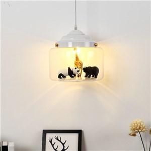 ペンダントライト リビング照明 寝室照明 子供屋照明 動物世界 ガラス 黒白色 1灯