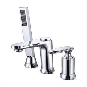 洗面蛇口 浴槽水栓 冷熱混合栓 ハンドシャワー付 ホース引出式 3点 2色