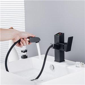 洗面蛇口 スプレー混合栓 洗髪用水栓 ホース引出式 水道蛇口 LED表示器付き 黒色 H185mm