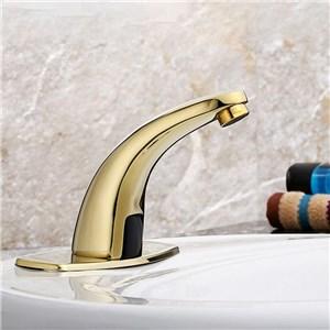 センサー水栓 自動水栓 洗面蛇口 水道蛇口 単水栓 金色 DC6V