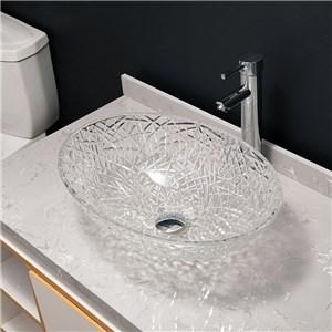 洗面ボール 手洗鉢 洗面器 ガラス製 ダイカスト 排水金具付 オシャレ 透明 楕円型 50cm