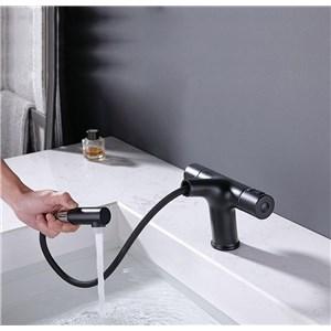 洗面蛇口 スプレー混合栓 洗髪用水栓 ホース引出式 サーモスタット付 整流&シャワー吐水式 黒色