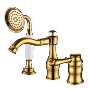 浴槽水栓 バス蛇口 シャワー混合栓 浴室水栓 ハンドシャワー付 水道蛇口 3点 3色