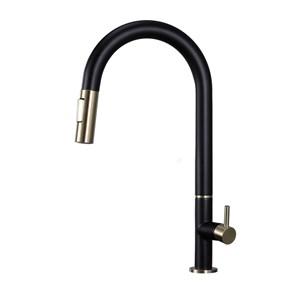 キッチン蛇口 引出し式水栓 台所水栓 冷熱混合水栓 水道蛇口 整流&シャワー吐水式 黒+金色