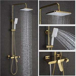 浴室シャワー水栓 シャワーシステム バス水栓 ヘッドシャワー+ハンドシャワー+蛇口 金色