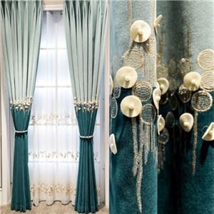 遮光カーテン オーダーカーテン 刺繍 花柄 北欧風 寝室 リビング オシャレ(1枚)