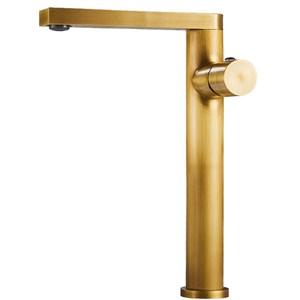 洗面水栓 バス蛇口 冷熱混合栓 立水栓 手洗器蛇口 水栓金具 水道蛇口 ブラス色 H26cm