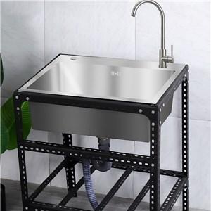 屋外シンク ガーデンシンク 68*44cm 簡易流し台 ステンレス製 ホルダー付 移動式 取付簡単 1槽