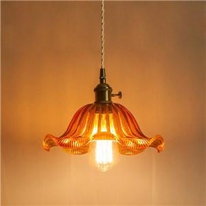 ペンダントライト リビング照明 ダイニング照明 寝室照明 玄関照明 ガラス 6畳8畳 洋風 花型 つまみスイッチ付 1灯 LZ92