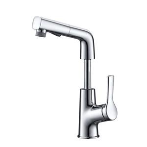 洗面蛇口 スプレー混合栓 洗髪用水栓 ホース引出式 水道蛇口 吐水口昇降 整流&シャワー吐水式 クロム