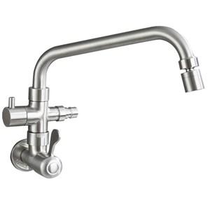 壁付蛇口 洗濯機用双口水栓 食洗機用キッチン蛇口 単水栓 水道蛇口 360°回転 ステンレス鋼 ヘアライン