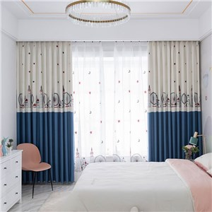 遮光カーテン オーダーカーテン 刺繍 観覧車 イギリス風 寝室 子供屋 オシャレ(1枚)