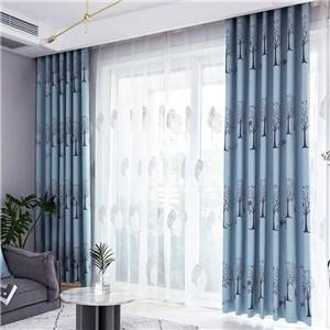 遮光カーテン オーダーカーテン ジャカード 木 北欧風 寝室 リビング オシャレ(1枚)