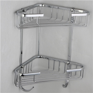 シャンプースタンド シャワーラック 浴室収納 真鍮製 クロム 2段