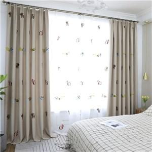 遮光カーテン オーダーカーテン 刺繍 猫 北欧風 寝室 リビング オシャレ(1枚)