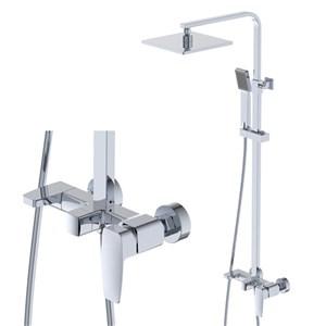 浴室シャワー水栓 レインシャワーシステム バス混合栓 ヘッドシャワー+ハンドシャワー+蛇口 4色