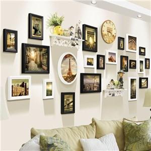 フォトフレーム 写真立て 壁掛け・卓上両用額縁 フォトデコレーション 木製 21個セット