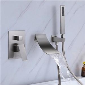 浴槽水栓 壁付蛇口 シャワー混合栓 浴室水栓 ハンドシャワー付 水道蛇口 2色