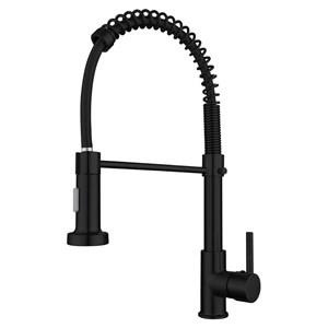 キッチン水栓 台所蛇口 冷熱混合栓 水道蛇口 水栓金具 整流&シャワー吐水式 ばね型 黒色 H44cm