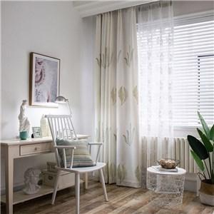 遮光カーテン オーダーカーテン 植物柄 刺繍 北欧風 寝室 リビング オシャレ(1枚)