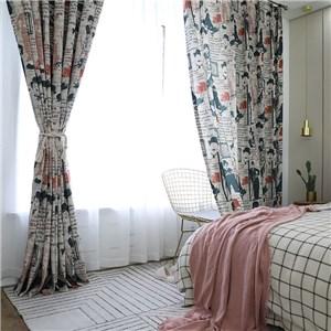 遮光カーテン オーダーカーテン チャップリン 捺染 欧米風 寝室 リビング オシャレ(1枚)