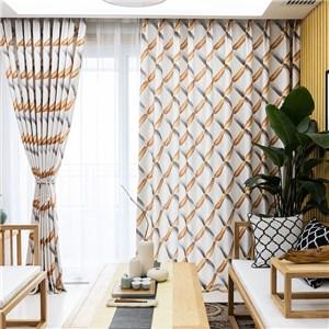 遮光カーテン オーダーカーテン 菱形柄 捺染 北欧風 寝室 リビング オシャレ(1枚)