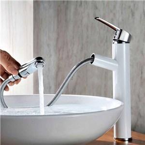 洗面蛇口 スプレー混合栓 洗髪用水栓 ホース引出式 水道蛇口 立水栓 水栓金具