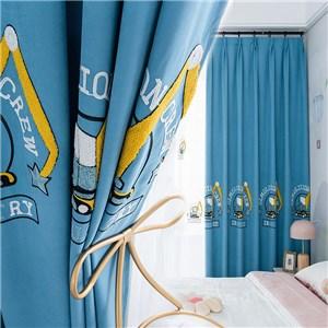 遮光カーテン オーダーカーテン 掘削機 刺繍 北欧風 寝室 子供屋 オシャレ(1枚)