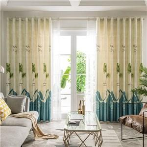 遮光カーテン オーダーカーテン 葉柄 捺染 北欧風 寝室 リビング オシャレ(1枚)