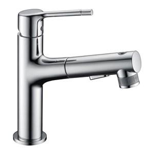 洗面蛇口 スプレー混合栓 洗髪用水栓 ホース引出式 水道蛇口 整流&シャワー吐水式 2色