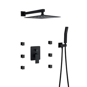 埋込形シャワー水栓 シャワーシステム マッサージ式水栓 ヘッドシャワー+ハンドシャワー+6吐水式 黒色