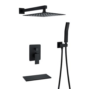埋込形シャワー水栓 レインシャワーシステム バス蛇口 ヘッドシャワー+ハンドシャワー 混合栓 黒色