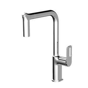 キッチン水栓 台所蛇口 引出し式水栓 冷熱混合栓 水栓金具 整流&シャワー吐水式 7字型 3色