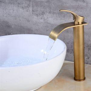 洗面水栓 バス蛇口 冷熱混合栓 立水栓 水道蛇口 水栓金具 レトロ ブラス色 H29.5cm