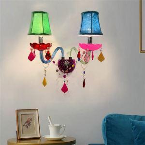 壁掛けライト クリスタル照明 ウォールランプ ブラケット 照明器具 玄関照明 カラフル 2灯