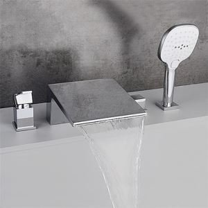 浴槽水栓 バス蛇口 シャワー混合栓 浴室水栓 ハンドシャワー付 水道蛇口 4点 黒色/クロム