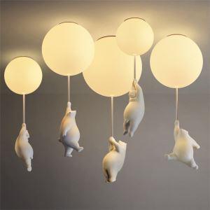 シーリングライト リビング照明 寝室照明 子供屋照明 風船型 くまちゃん付 1灯