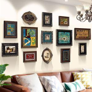 壁掛けフォトフレーム 写真立てセット 額縁 フォトデコレーション 木製 13個セット レトロ