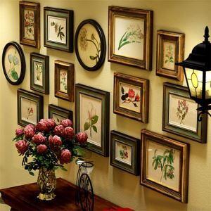壁掛けフォトフレーム 写真立てセット 額縁 フォトデコレーション 木製 15個セット レトロ