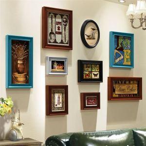 壁掛けフォトフレーム 写真立てセット 額縁 フォトデコレーション 木製 9個セット レトロ