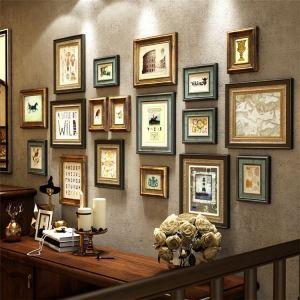 壁掛けフォトフレーム 写真立てセット 額縁 フォトデコレーション 木製 18個セット レトロ