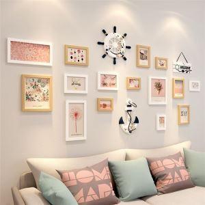 壁掛けフォトフレーム 写真立てセット 額縁 フォトデコレーション 木製 15個セット 北欧風