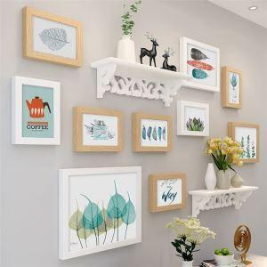 壁掛けフォトフレーム 写真立てセット 額縁 フォトデコレーション 木製 9個セット 北欧風