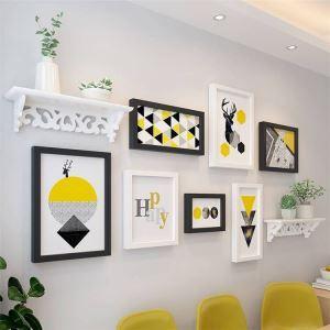 壁掛けフォトフレーム 写真立てセット 額縁 フォトデコレーション 木製 7個セット 北欧風